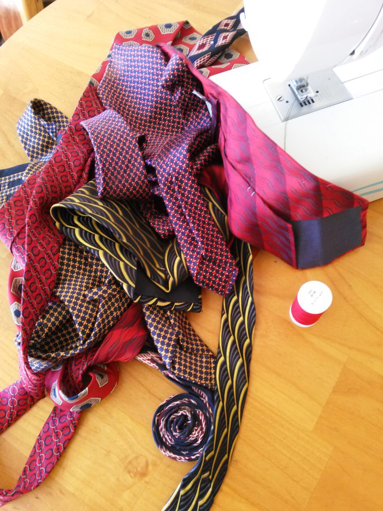 upcycling ties into a basket